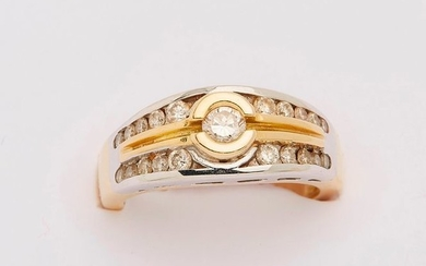 """Yellow and white gold """"rush"""" ring set with..."""