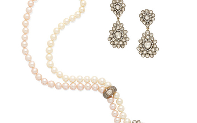 a cultured pearl and diamond necklace and diamond ear pendants