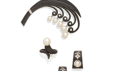 a pair of ear clips, a ring and a brooch,