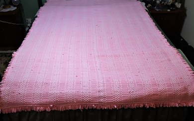 pink bed rug made in loom on strips of fabric a private collection from Portugal - Cotton