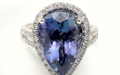 14K 11.98 CT PEAR CUT TANZANITE & DIAMOND RING