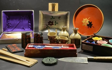 16 Assorted Japanese Items, Sake, Lacquer Etc.