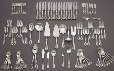 (170) Pcs. Wallace Rose Point sterling flatware,