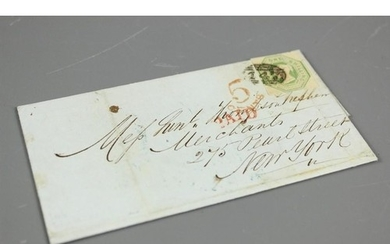 1851 Entire Letter from Leeds to New York, bearing 1s emboss...