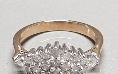 18CT YELLOW GOLD DIAMOND CLUSTER RING APPROXIMATELY .70CTS ...