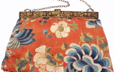 18TH-19TH C. QING DYNASTY CHINESE RED SILK PURSE.