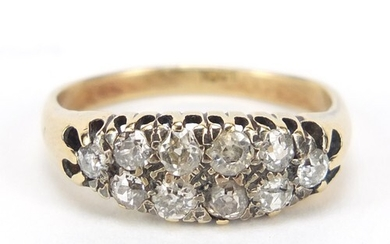 18ct gold and diamond two row cluster ring, set with ten dia...