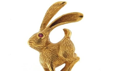 Grosse, 18ct gold brooch in the form of a hare with ruby eye...