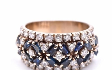 18k Yellow Gold Diamond and Sapphire Band