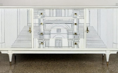 MID CENTURY MODERN SIDEBOARD MANNER OF FORNASETTI