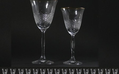 32 Pcs. Two Sets of 16 Diamond Quilted Cut Glass Wine