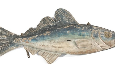 """LARGE CARVED AND PAINTED WOODEN FISH Once probably hung as a trade sign for a fish market or restaurant. Height approx. 33.25"""". Leng..."""