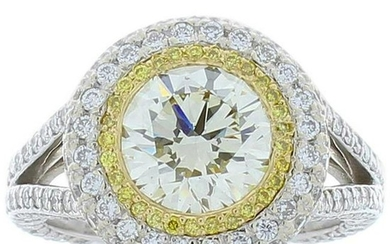 4.20 Carat Total Cape Diamond and Fancy Intense Yellow