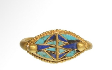Egyptian Gold Ring with Glass Lotus CloisonnŽ, c.