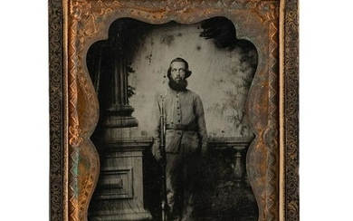 Quarter Plate Ruby Ambrotype of Armed Infantry Private