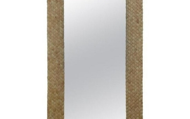 70s 96 Inch High Inlay Wooden Mirror