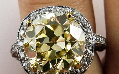 7.24ct Estate Vintage Natural FANCY YELLOW Old Round