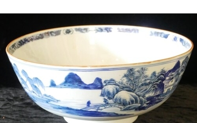A 19TH CENTURY ORIENTAL BLUE AND WHITE PORCELAIN PUNCH BOWL ...