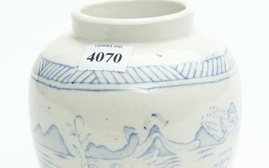 A BLUE AND WHITE JAR ORIGINALLY FROM THE CONNOISSEUR'S STORE, 12 CM HIGH, LEONARD JOEL LOCAL DELIVERY SIZE: SMALL