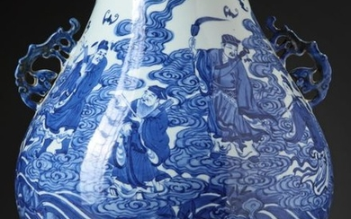 A CHINESE BLUE AND WHITE EIGHT IMMORTALS HU...