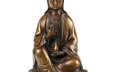 A CHINESE BRONZE FIGURE OF A GUANYIN, QING DYNASTY, 18TH-19TH CENTURY