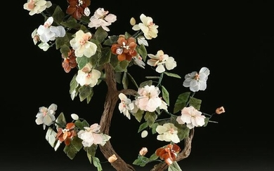 A CHINESE CARVED JADE AND HARDSTONES BLOSSOMING TREE