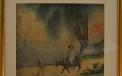 A CHINESE SILK PAINTING, 26 X 27CM, FRAME SIZE: 39 X 38CM, LEONARD JOEL DELIVERY SIZE: SMALL