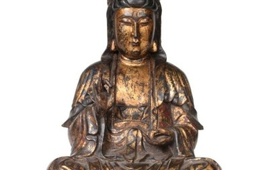 A Chinese Gilt and Lacquered Wood Figure of Buddha, probably...
