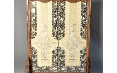 A Chinese Hardwood Screen with Silkwork Embroidered Panel de...