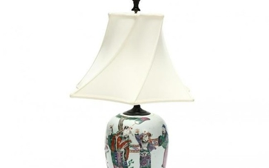 A Chinese Porcelain Table Lamp with Figures