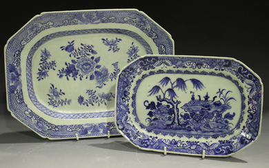 A Chinese blue and white export porcelain meat plate, Qianlong period, painted with flowers, length