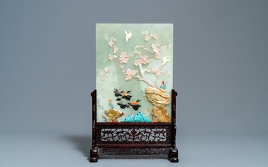 A Chinese inlaid hardstone table screen, 19/20th C....