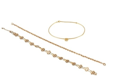 A DIAMOND SET GOLD BANGLE, together with two 9ct gold bracel...