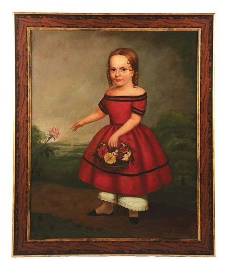 A FINE FOLK ART PORTRAIT OF A YOUNG GIRL WITH BASKET OF