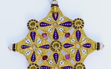 A Fine Gold Coloured Metal, Enamel and Jewel Set...