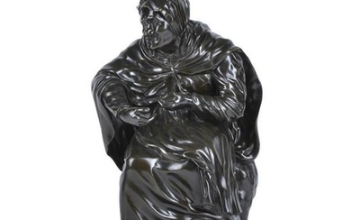 A French bronze model of an old woman