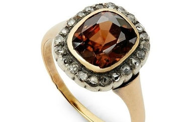 A French mid 19th century zircon & diamond cluster ring