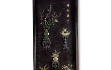 A JADE AND HARDSTONE-INLAID LACQUER PANEL