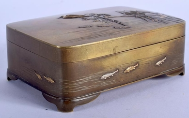 A JAPANESE MEIJI PERIOD BRONZE BOX, decorated in relief