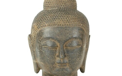 A LARGE FINELY CARVED CHINESE (POSSIBLY MING DYNASTY) GREY S...