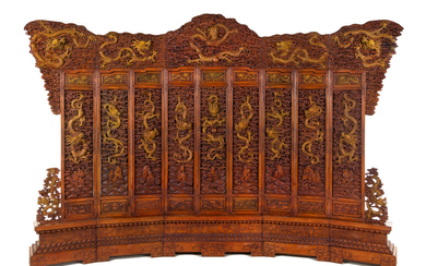 A Large Chinese Export Carved Hardwood 'Dragon and Clouds' Screen