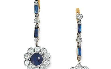 A PAIR OF ART DECO SAPPHIRE AND DIAMOND EARRINGS in