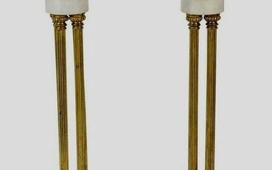 A PAIR OF DORE BRONZE AND MARBLE STANDS