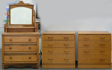 A PAIR OF G PLAN TEAK CHEST OF DRAWERS, ONE WITH SECRETAIRE,...