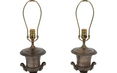 A Pair of Cast Iron Urns Mounted as Lamps Height 15 1/2