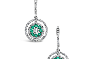 A Pair of Emerald, Diamond and White Gold Ear Pendants