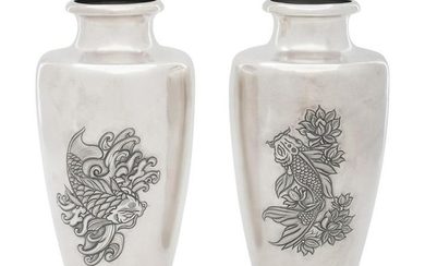 A Pair of Japanese Silver Vases
