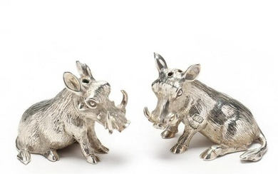 A Pair of Sterling Silver Figural Salt & Pepper Shakers
