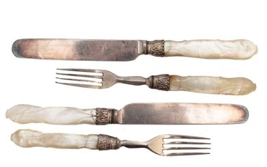 A SET OF FOUR VICTORIAN MOTHER OF PEARL FLATWARE