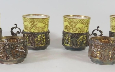 A Set of Six 19th Century French Silver and Pierced Coffee C...